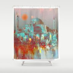 Buy Shower Curtains featuring  the saint-Sophie Basilica by Ganech joe. Made from 100% easy care polyester our designer shower curtains are printed in the USA and feature a 12 button-hole top for simple hanging.