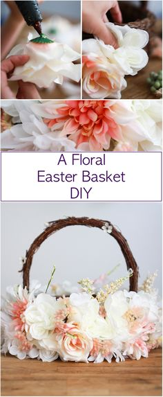 A floral Easter Basket DIY. A beautiful basket to decorate for Easter, for a children's Easter egg hunt or for a wedding's flower girl/boy. Take a look.