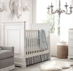 RH baby&child's Heirloom Quilted Voile & Heirloom Stripe Nursery Bedding Collection:Our Heirloom Quilted Voile collection is made with airy hand-quilted cotton voile in a pattern of diamonds and channels, creating little pockets of lightweight warmth.