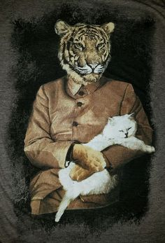 Tiger in Suit Holding Cat Kitten Medium Size T Shirt Funny #Epic