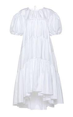 Esme Balloon Sleeve Poplin Midi Dress by Cecilie Bahnsen Boho Fashion, Girl Fashion, Frocks And Gowns, Cute White Dress, Edgy Dress, Tuxedo Dress, Midi Dress With Sleeves, Fashion Essentials, Babydoll Dress