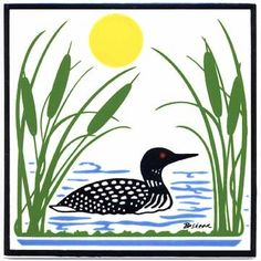 LOON IN LAKE WITH CATTAILS TILE - WALL PLAQUE - TRIVET WL-5 | BesheerArtTile - Ceramics & Pottery on ArtFire