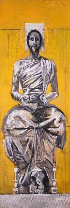 Christ Seated (Christ in Glory), Graham Sutherland, Modern Art, English, Spiritual Paintings, Religious Paintings, Religious Icons, Religious Art, Images Of Christ, Modern Art, Contemporary Art, Life Of Christ, Art Uk