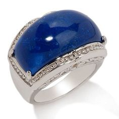 Victoria Wieck Domed Lapis & Yellow Sapphire Sterling Band Ring Sz 8 R859 #VictoriaWieck #Band