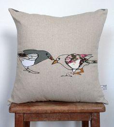 Appliqued Bird Cushion by NaughtyDOG2 on Etsy