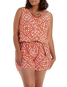 The thick straps and V-neck on this cute plus size romper from Charlotte Russe is perfect to de-emphasize the broad shoulders of an inverted triangle body shape. The V-neck and belted waist works well for hourglass figures. Learn how to dress your body shape and find items that flatter your figure while helping women in need at Styletruist.com.