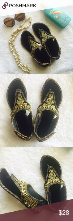 Handmade Indian shoes Black Indian shoes with gold embroidery .Best for beach or a sunny day. Size in Indian shoes varies from USA but size mentioned in the listing is based on USA sizing  . Please ask any Q before u buy . Price is firm unless bundled . Shoes Flats & Loafers