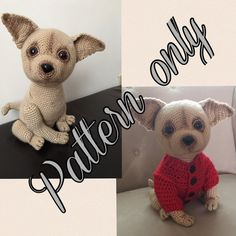 This cute crochet Chihuahua dog you can make by yourself. Use yarn what becomes a fur after combing and make even two or three colors chihuahua dog. Pattern is on 17 pages, has a lot of pictures. It required inter median crochet level. Though if you just a beginner I will be happy to teach and consult you for free. I can send video for you if there is not enough explanation or detail is too complicated to make for you. So you can expect any explanation from me.  This pattern is for personal…