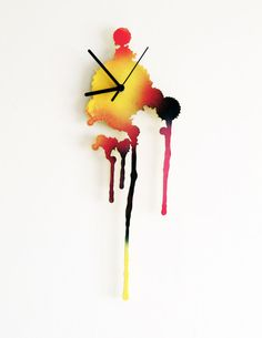 Ink Splatter. Modern Wall Clock. Multicolor Wall Clock. Living Room Decor. Rustic home. Hand painted Clock.