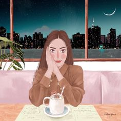 "Malena Flores on Instagram: ""bonne nuit 🎠🥨🌉."" Portrait Illustration, Art And Illustration, Black Art Painting, Photoshop, Aesthetic Art, Cute Drawings, Female Art, Cute Wallpapers, Art Inspo"