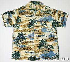 Vintage Early 60s Hawaiian Aloha Shirt Loop Collar Rayon Mens Medium