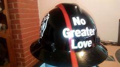 No greater Love, firefighter memorial hard hat