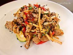 Panenka na spôsob číny - recept | Varecha.sk Pasta Salad, Treats, Chicken, Ethnic Recipes, Food, Crab Pasta Salad, Sweet Like Candy, Goodies, Meals