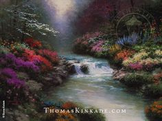 """Beside Still Waters"" was released in January 1993. This painting depicts what Thom envisioned the Garden of Eden must have looked like. He described this Eden as ""a wonderful hideaway, bathed in a silvery light, ablaze with flowers of every hue and description, silent save for the murmur of gently rushing waters. I'm not sure to this day whether it's a dream or a memory."" The title of the painting is taken from the Bible (Psalm 23:2)."