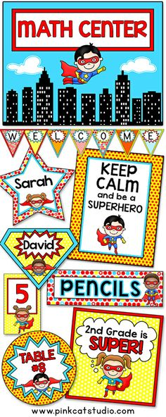 Let your imagination soar when you decorate your classroom using these adorable superhero kids theme labels and templates! This value packed set includes over 200 full color template designs that can be used for posters, signs, labels, stickers, binder covers, newsletters, certificates and anything else you can think of for your classroom! By Pink Cat Studio