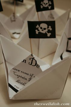 DIY Pirate Party invitation card, folded like a boat