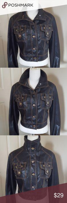 81959e3efb7 Vintage cropped faux leather jacket Cropped