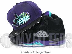 43a8c84a288 Tampa bay devil rays air jordan retro 5 grape matching new era 59fifty  fitted cap