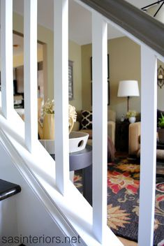 These beautiful wood stairs were once carpeted! You too can take your stairs from ugly carpet to beautiful wood stairs. Redo Stairs, Basement Stairs, White Carpet, Diy Carpet, Modern Carpet, Carpet Ideas, Banister Remodel, Staircase Makeover, Dreams Beds