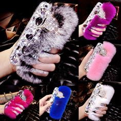 For iPhone 6S Case Rabbit Hair Fur Fox Head Bling Diamond Rhinestone TPU Case For iPhone 6 Plus 6S Plus 7 Plus 5S 5 SE Cover   iPhone Covers Online