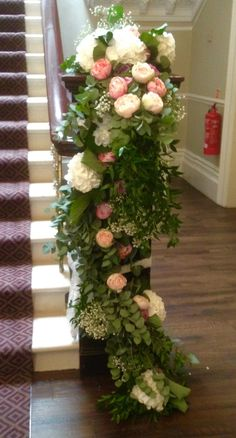 Gorgeous staircase at Ashfield House dressed with beautiful fresh foliage, hydrangea, peonies and roses. Civil Ceremony, House Dress, Bridal Flowers, Hydrangea, Floral Wedding, Peonies, Christmas Wreaths, Floral Design, Floral Wreath