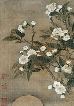 """artemisdreaming:  """"  A pear tree is blooming,  by a collapsed house,  on an old battlefield.  Masaoka Shiki  Image: Yun Shouping - Pear Blossom and Moon  Keep reading  """""""