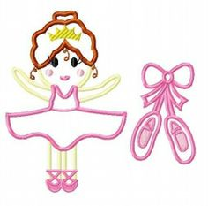 Shoes and Princess Ballerina TWO Applique Embroidery Designs SET, mutltiple sizes  INCLUDING 4 INCH