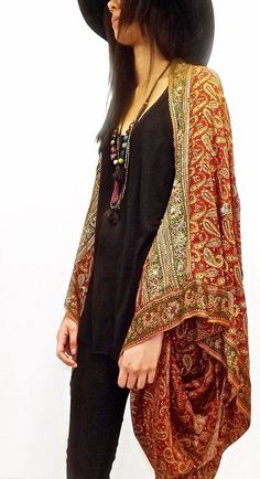 Silk beaded Kimono jacket / Shrug / cover up by Bibiluxe on Etsy, £100.00