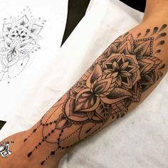Lace Sleeve Tattoos, Feminine Tattoo Sleeves, Geometric Sleeve Tattoo, Tattoo Sleeve Designs, Geometric Tattoos, Geometric Shapes, Girl Arm Tattoos, Wrist Tattoos For Women, Forearm Tattoos