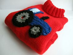 Red Knitted baby/toddler jumper with a crochet by Pavlaknits, £25.00