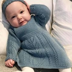 Soria Moria Kjole pattern by Wenche Steffensen : Ravelry: Soria Moria Dress pattern by Wenche Steffensen Girls Knitted Dress, Knit Baby Dress, Knitted Baby Clothes, Baby Cardigan, Sweater Knitting Patterns, Knitting For Kids, Baby Sweaters, Baby Patterns, Crochet Patterns