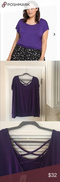 Brand new w/tags Torrid Purple top Great top for going out or going to work! Torrid new with tags. Size 3. 96% rayon and 4% Spandex. torrid Tops Blouses