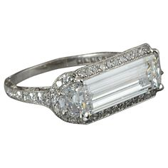 Hancocks GIA Cert 1.78 Carat Baguette Cut Diamond Platinum Ring | From a unique collection of vintage more rings at https://www.1stdibs.com/jewelry/rings/more-rings/