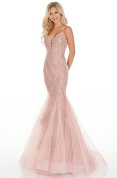 Rachel Allan Prom - 7150 Lace Deep V-Neck Mermaid Dress Pretty Prom Dresses, Pink Prom Dresses, Sweet 16 Dresses, Designer Prom Dresses, Prom Gowns, Evening Gowns, Blush Prom Dress, Pageant Dresses, Quinceanera Dresses