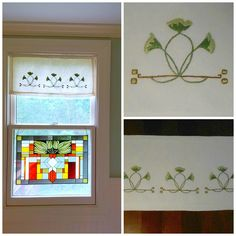 Craftsman Style Textiles, Hand Embroidery, Ginkgo Curtain Panels Craftsman Style…