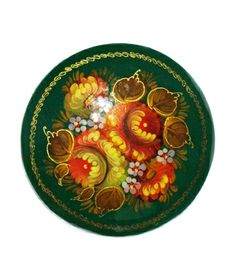 "Russian Lacquer Brooch TItled ""Golden Blooms"" from  the village of Zhostovo"