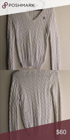 Polo Ralph Lauren Cable V-Neck Sweater Never worn! The white is timeless and slim-fitting. Polo by Ralph Lauren Sweaters V-Necks