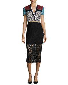 Short-Sleeve Colorblock Lace Sheath Dress by Preen by Thornton Bregazzi at Bergdorf Goodman.