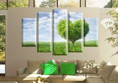 Tablouri heart-tree 4251 Dimensiuni: 2x 25x50 - 2x 25x70 - 1x 25x80 cm Total: 125x80 cm