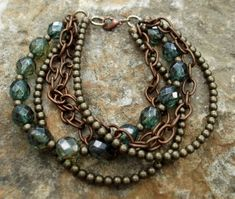 Mixed metal & bead multistrand bracelet