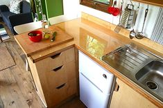 Fridge/counter/drawers/sink option Houses on Wheels That Will Make Your Jaw Drop
