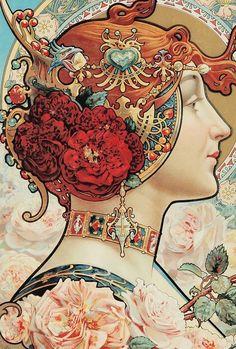 Louis -Théophile Hingre - Advertisement for a wallpaper company (Charpentier-Deny) 1890 Art Nouveau Mucha, Alphonse Mucha Art, Art Nouveau Poster, Poster Art, Design Poster, Tatuaje Art Nouveau, Art Nouveau Tattoo, Tattoo Art, Design Art Nouveau