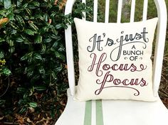 Because Hocus Pocus is only the best Halloween movie of all time. Ever. This would look perfectly fab on a porch bench or in an entryway on All Hallows Eve!  : : : : : : : : : : : : : : : : : : : : : : : : : : : : : : : : : : : : : : : : : : : : : : : : : : : : : : : : : : : : :  D E T A I L S: -This quote is hand painted in burgundy and black, on an off-white, cotton, canvas material. -Pillow measures at approximately 14 x 15.5 in. -All pillows are stuffed and sewn up. (Not a case, no…