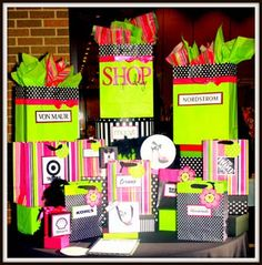 Display for shopping gift cards - pretty bags with the stores logo on it