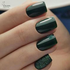 Bronze nails with flowers - Nail Designs! - Green Nail Designs ideas Colors That You to Try,neon green nails,olive green nails,neon lime green - Green Nail Designs, Square Nail Designs, Different Nail Designs, Nail Art Designs, Nails Design, Salon Design, Dark Nail Designs, Dark Green Nails, Green Nail Art