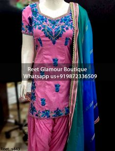 Captivating Pink Machine Embroidered Punjabi Suit Product Code : Reet_443 To Order, Call/Whats app On +919872336509 We Offer Huge Variety Of Punjabi Suits, Anarkali Suits, Lehenga Choli, Bridal Suits,Sari, Gowns Etc .We Can Also Design Any Suit Of Your Own Design And Any Color Combination.
