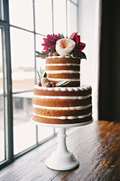 perfect deconstructed cake with floral