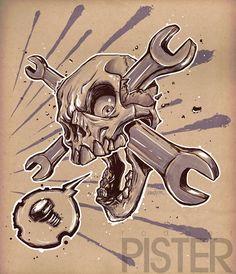 Skull Wrench by RodgerPister Skull Tattoo Design, Skull Design, Skull Tattoos, Gas Mask Art, Masks Art, Skull Artwork, Cool Artwork, Wrench Tattoo, Auto Tattoo
