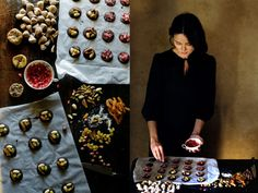 To give away: mendiants. Traditional French confections composed of a chocolate disk studded with nuts and dried fruits. Simply lovely. Via Mimi of Manger.