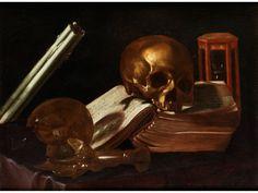 VANITASSTILLLEBEN Öl auf Leinwand. 48 x 65 cm. Die sujettypischen Gegenstände wie Schädel, zerbrochenes Glas, ausgelöschte Kerzen sowie Stundenglas um ein...